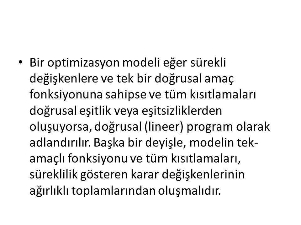 Bir optimizasyon modeli eğer sürekli değişkenlere ve tek bir doğrusal amaç fonksiyonuna sahipse ve tüm kısıtlamaları doğrusal eşitlik veya eşitsizliklerden oluşuyorsa, doğrusal (lineer) program olarak adlandırılır.
