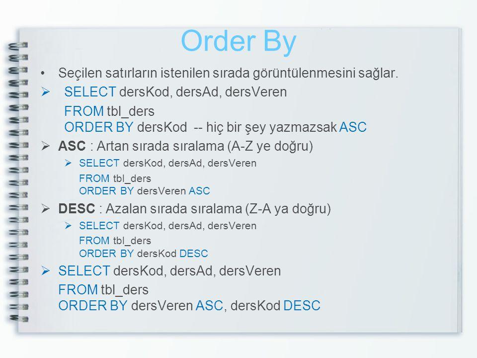 Order By Seçilen satırların istenilen sırada görüntülenmesini sağlar.