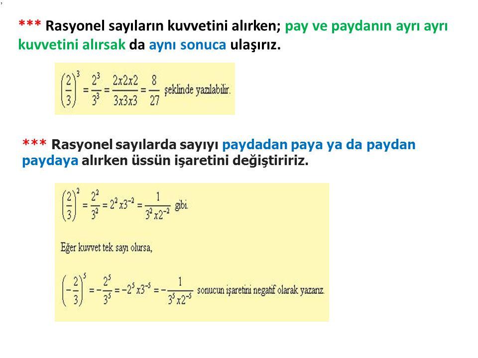 *** Rasyonel sayıların kuvvetini alırken; pay ve paydanın ayrı ayrı kuvvetini alırsak da aynı sonuca ulaşırız.
