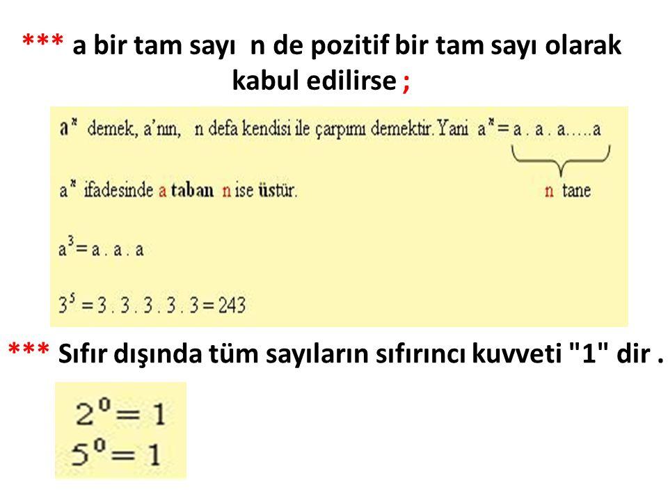 *** a bir tam sayı n de pozitif bir tam sayı olarak kabul edilirse ;