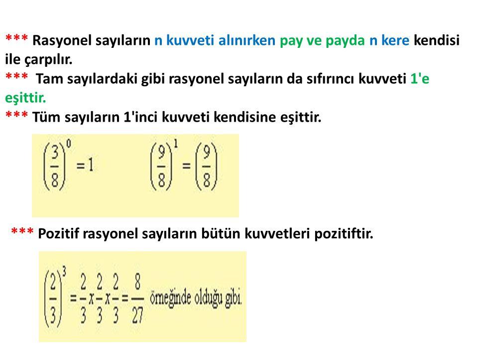 *** Rasyonel sayıların n kuvveti alınırken pay ve payda n kere kendisi ile çarpılır. *** Tam sayılardaki gibi rasyonel sayıların da sıfırıncı kuvveti 1 e eşittir. *** Tüm sayıların 1 inci kuvveti kendisine eşittir.