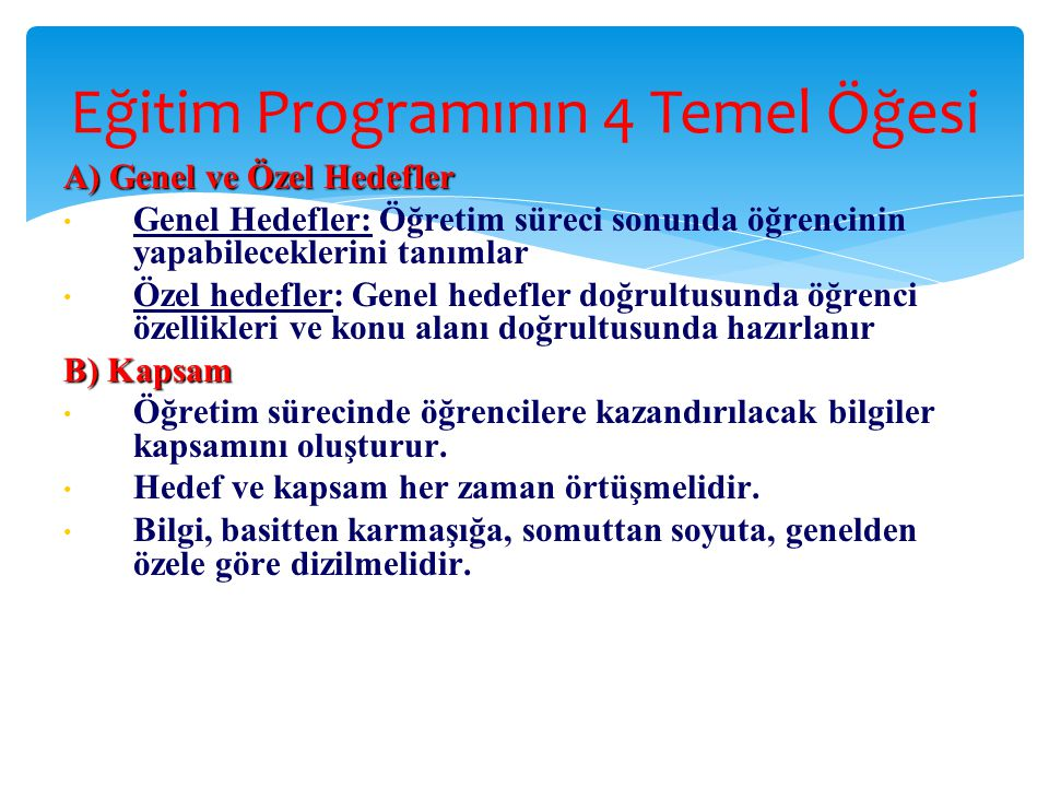Eğitim Programının 4 Temel Öğesi