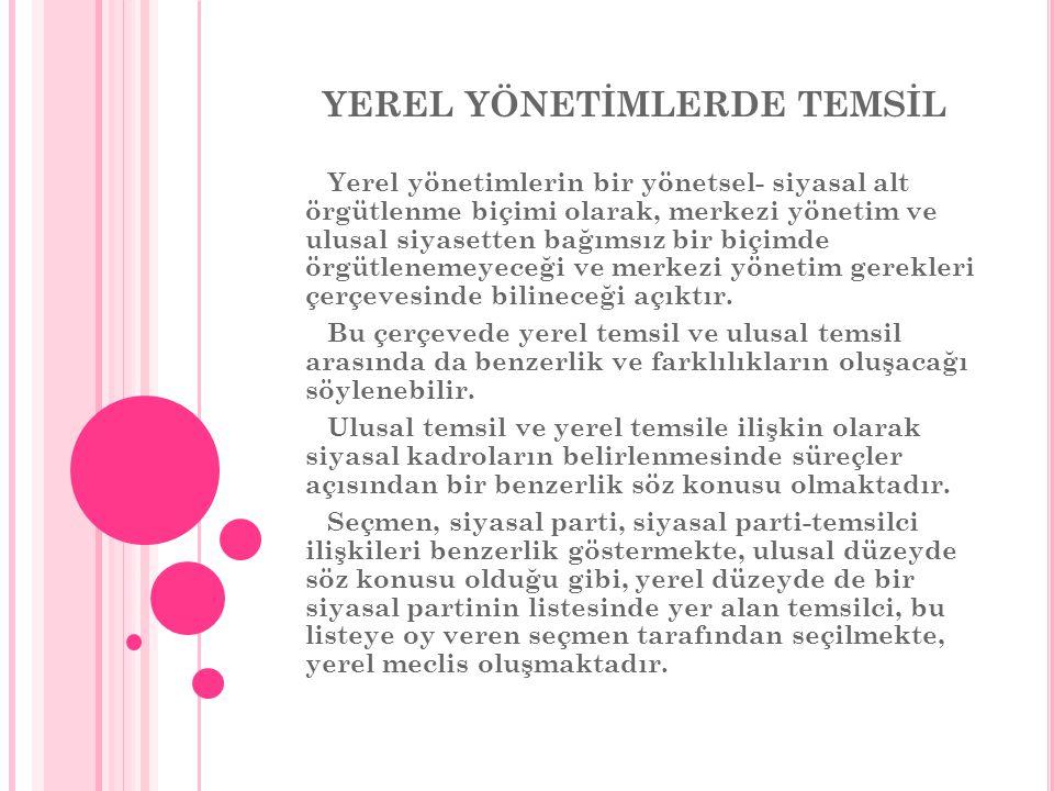 YEREL YÖNETİMLERDE TEMSİL