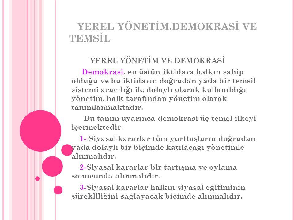 YEREL YÖNETİM,DEMOKRASİ VE TEMSİL