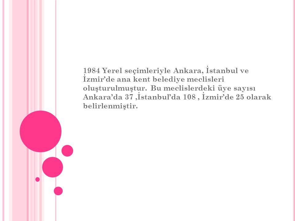 1984 Yerel seçimleriyle Ankara, İstanbul ve İzmir'de ana kent belediye meclisleri oluşturulmuştur.