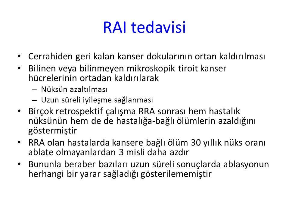 RAI tedavisi Cerrahiden geri kalan kanser dokularının ortan kaldırılması.