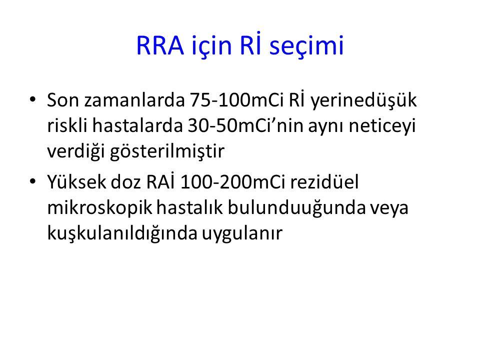 RRA için Rİ seçimi Son zamanlarda 75-100mCi Rİ yerinedüşük riskli hastalarda 30-50mCi'nin aynı neticeyi verdiği gösterilmiştir.