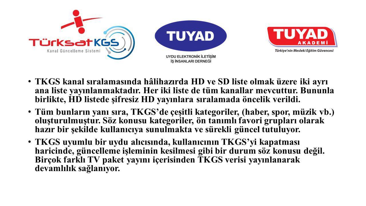 TKGS kanal sıralamasında hâlihazırda HD ve SD liste olmak üzere iki ayrı ana liste yayınlanmaktadır. Her iki liste de tüm kanallar mevcuttur. Bununla birlikte, HD listede şifresiz HD yayınlara sıralamada öncelik verildi.