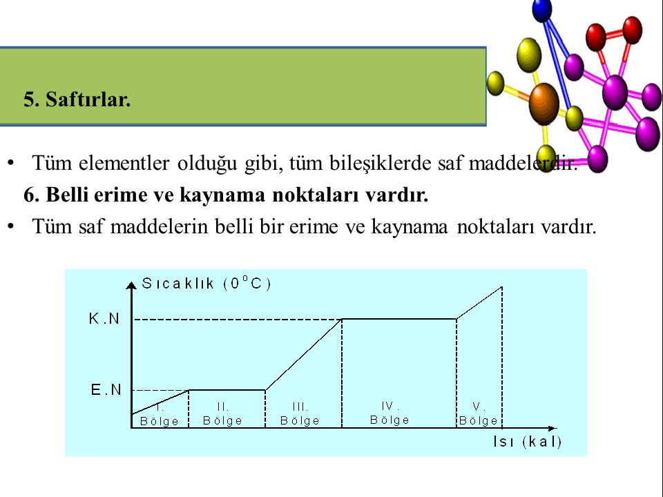 5. Saftırlar. Tüm elementler olduğu gibi, tüm bileşiklerde saf maddelerdir. 6. Belli erime ve kaynama noktaları vardır.