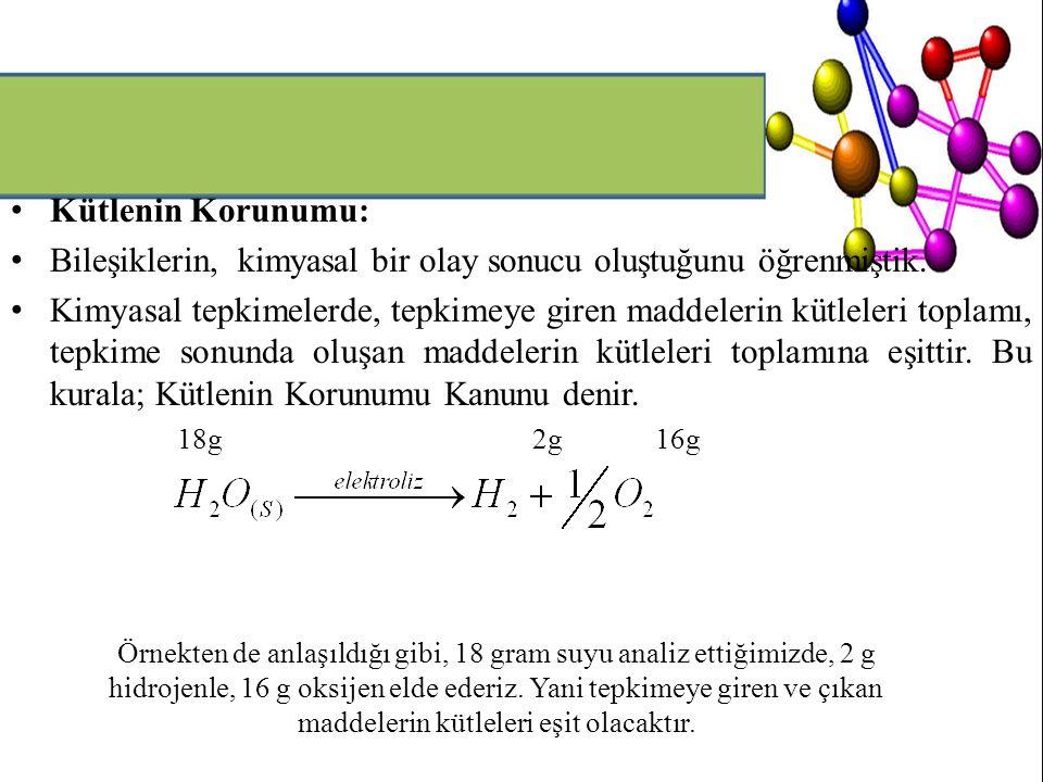Bileşiklerin, kimyasal bir olay sonucu oluştuğunu öğrenmiştik.