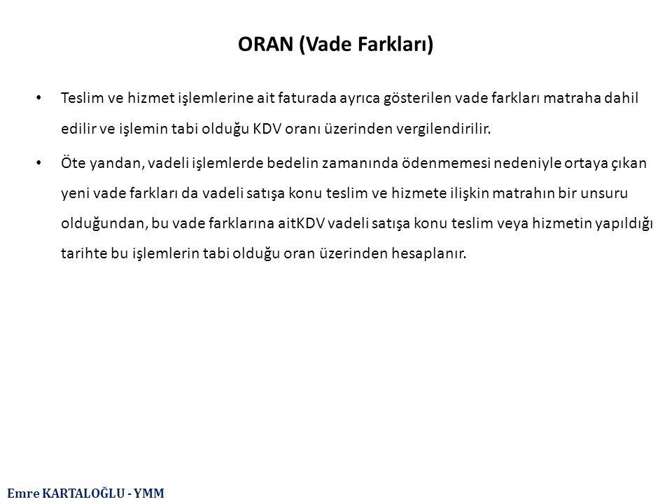 ORAN (Vade Farkları)