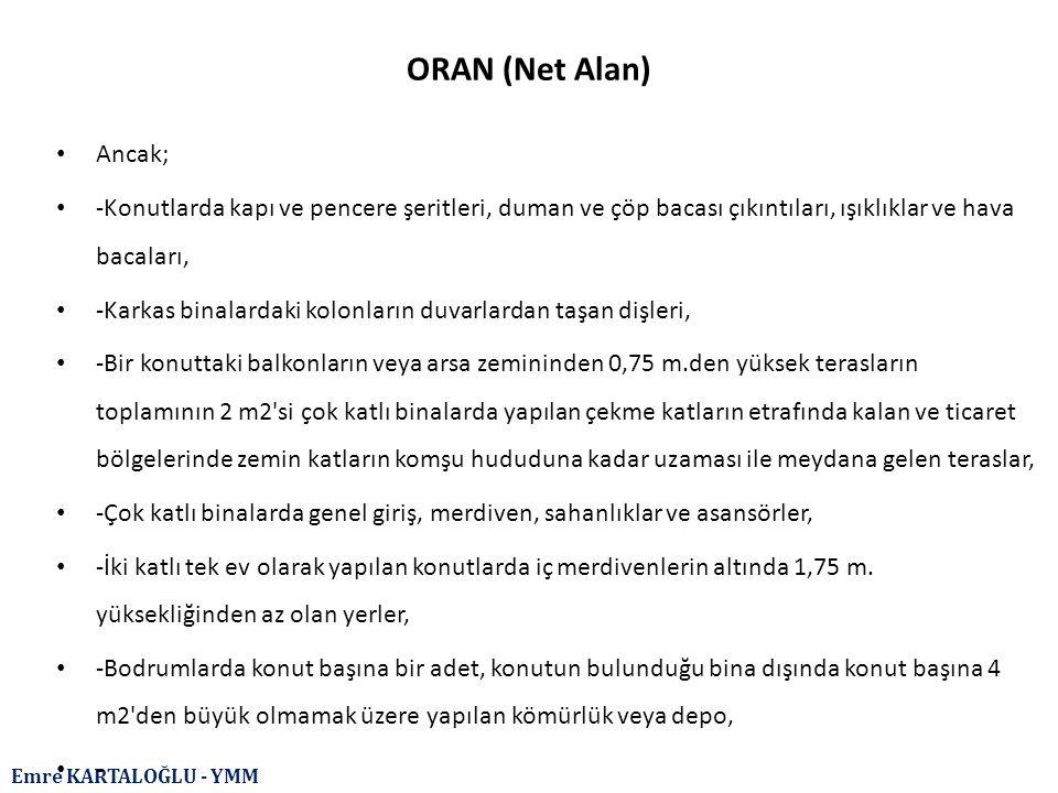 ORAN (Net Alan) Ancak; -Konutlarda kapı ve pencere şeritleri, duman ve çöp bacası çıkıntıları, ışıklıklar ve hava bacaları,