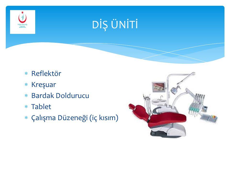 DİŞ ÜNİTİ Reflektör Kreşuar Bardak Doldurucu Tablet