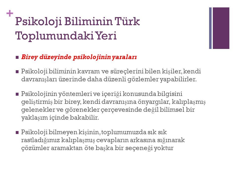 Psikoloji Biliminin Türk Toplumundaki Yeri