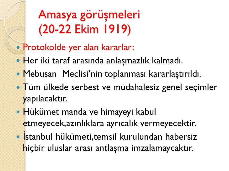 Amasya görüşmeleri (20-22 Ekim 1919)