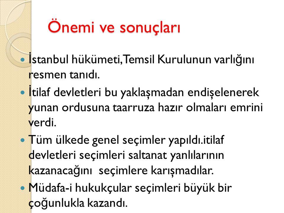 Önemi ve sonuçları İstanbul hükümeti,Temsil Kurulunun varlığını resmen tanıdı.