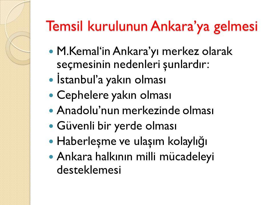 Temsil kurulunun Ankara'ya gelmesi