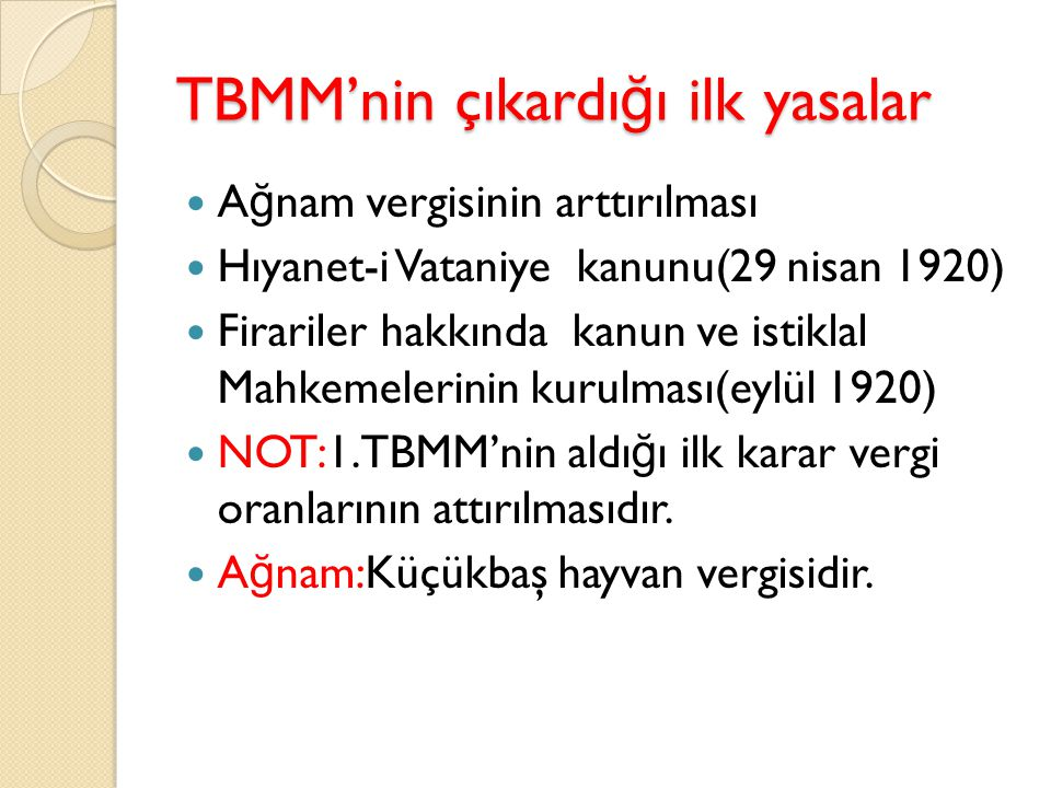 TBMM'nin çıkardığı ilk yasalar