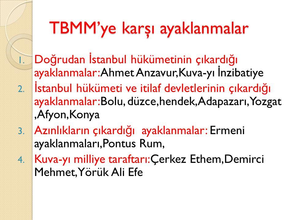 TBMM'ye karşı ayaklanmalar