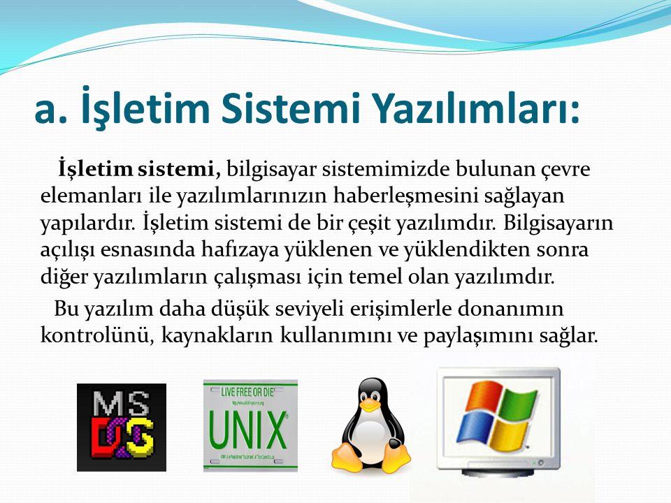 a. İşletim Sistemi Yazılımları: