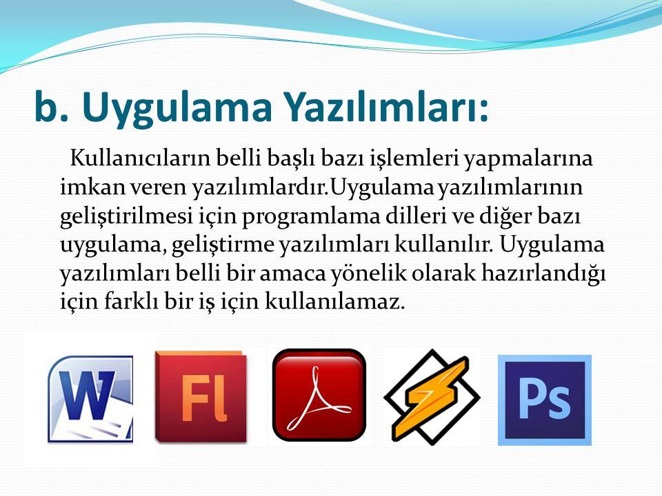 b. Uygulama Yazılımları: