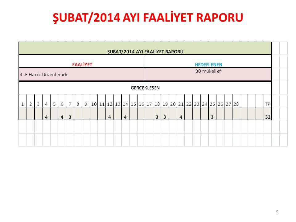 ŞUBAT/2014 AYI FAALİYET RAPORU