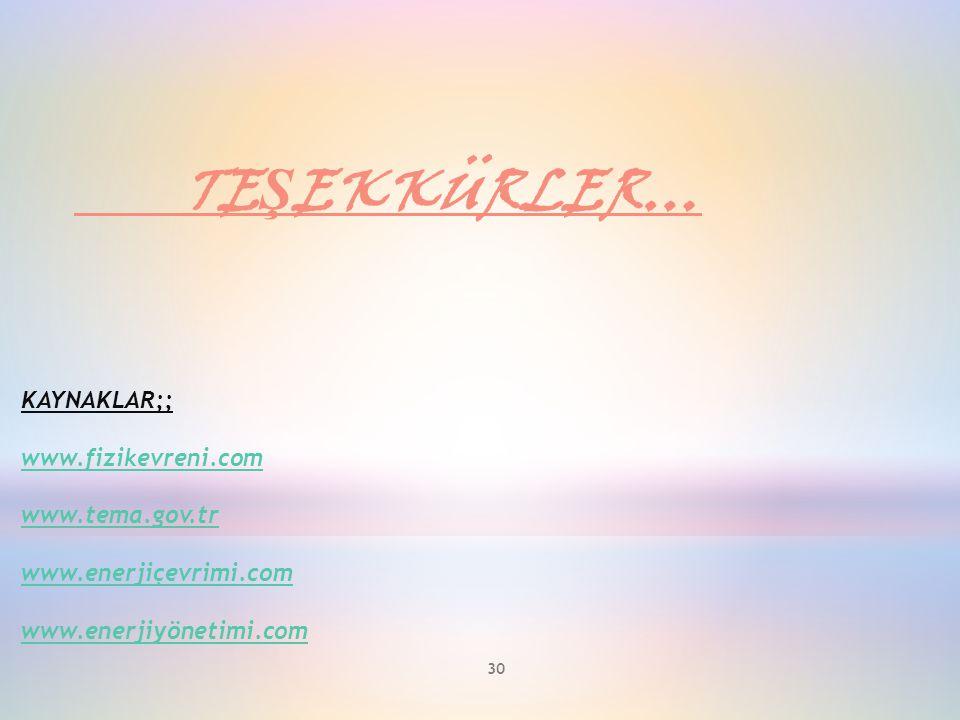 TEŞEKKÜRLER… KAYNAKLAR;; www.fizikevreni.com www.tema.gov.tr