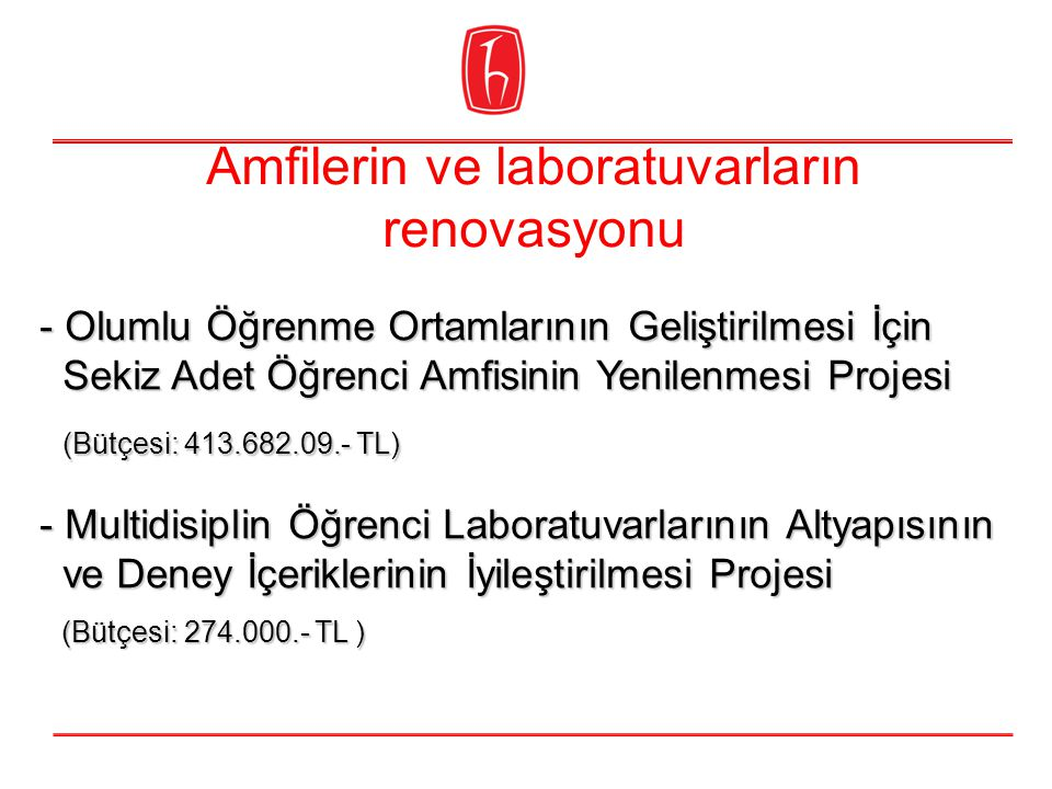 Amfilerin ve laboratuvarların renovasyonu