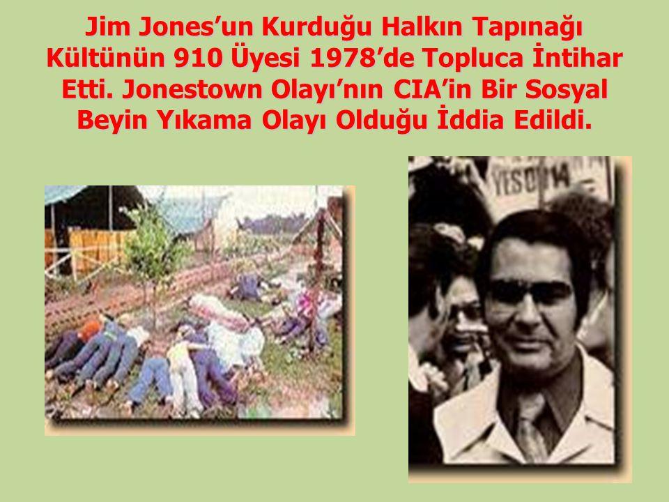 Jim Jones'un Kurduğu Halkın Tapınağı Kültünün 910 Üyesi 1978'de Topluca İntihar Etti.