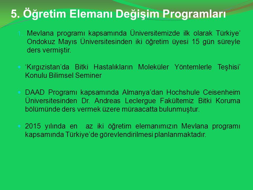 5. Öğretim Elemanı Değişim Programları