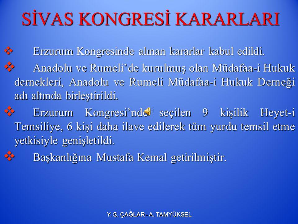 SİVAS KONGRESİ KARARLARI