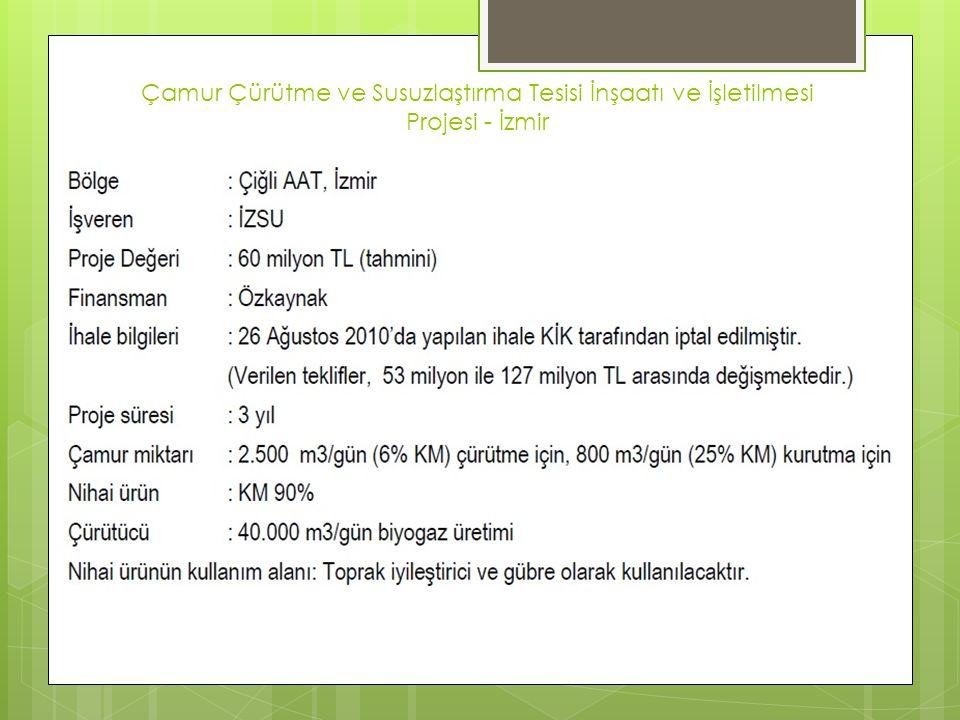 Çamur Çürütme ve Susuzlaştırma Tesisi İnşaatı ve İşletilmesi Projesi - İzmir