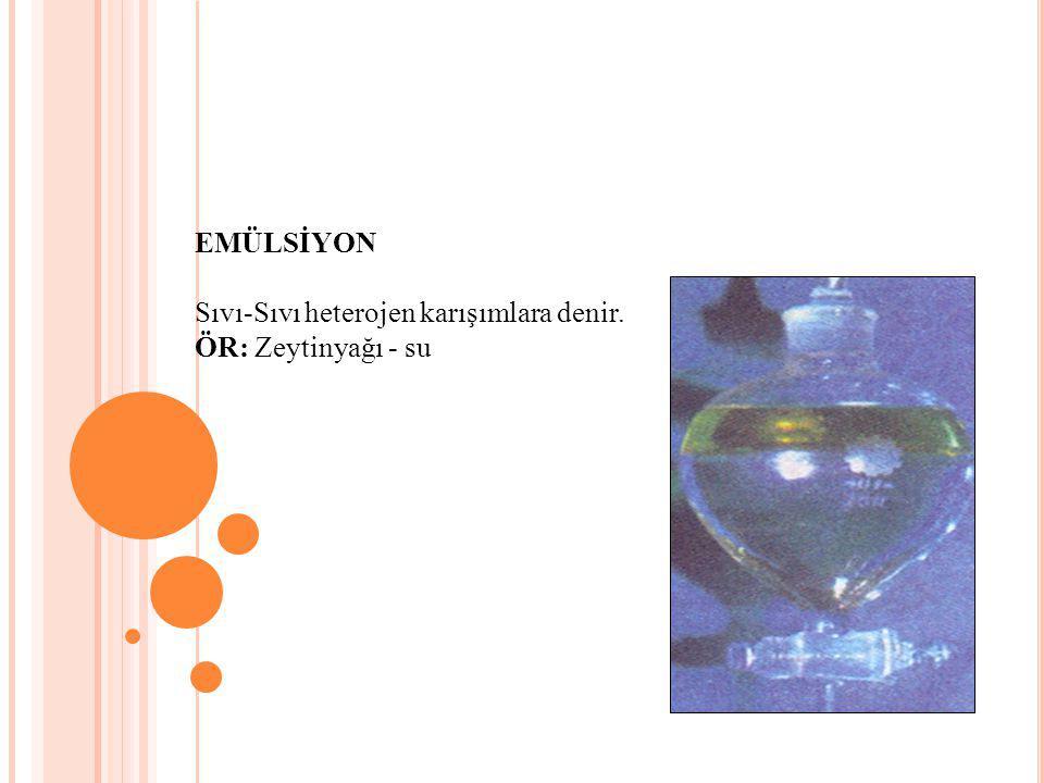 EMÜLSİYON Sıvı-Sıvı heterojen karışımlara denir. ÖR: Zeytinyağı - su