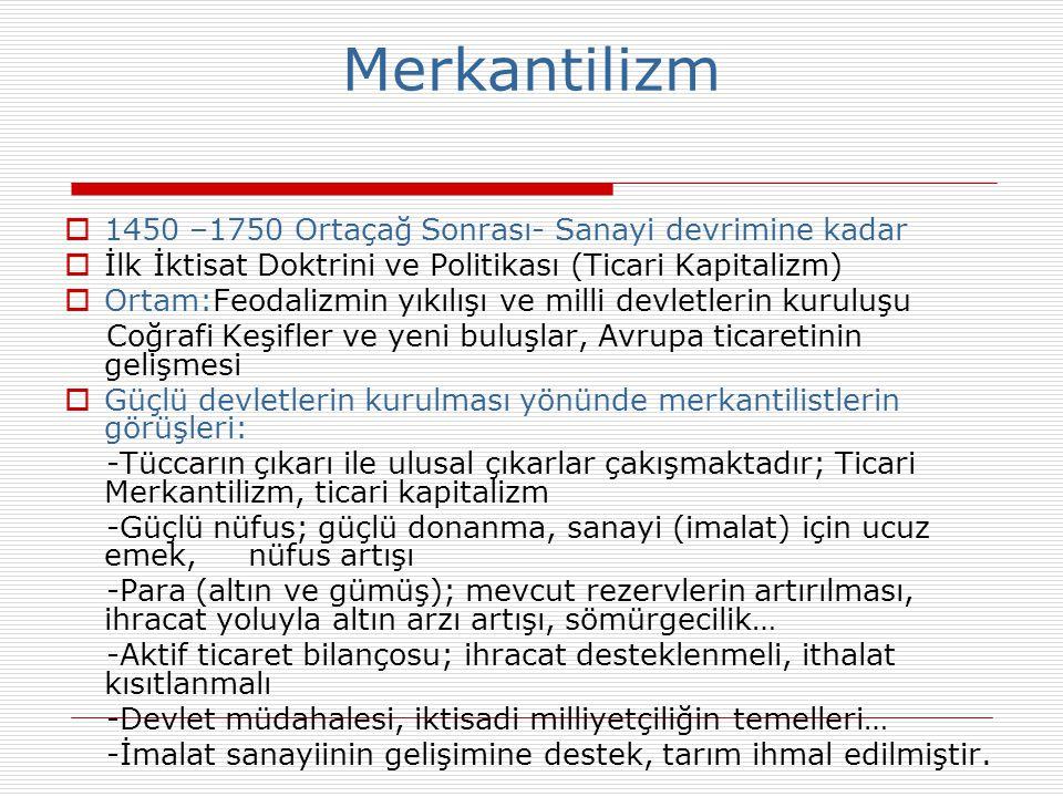 Merkantilizm 1450 –1750 Ortaçağ Sonrası- Sanayi devrimine kadar