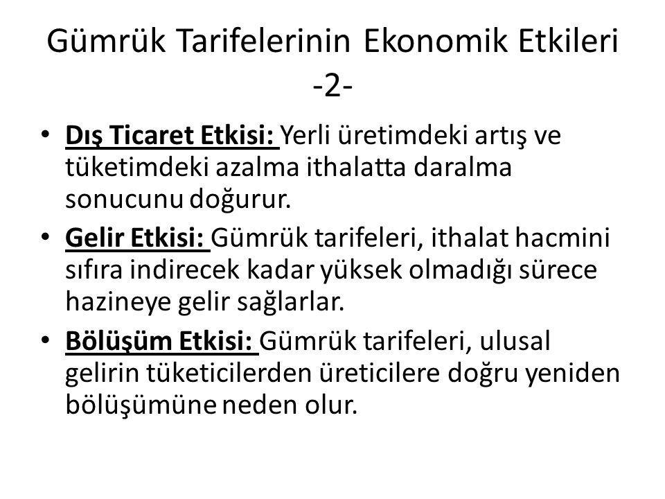 Gümrük Tarifelerinin Ekonomik Etkileri -2-
