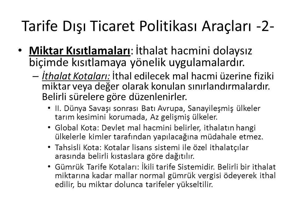 Tarife Dışı Ticaret Politikası Araçları -2-