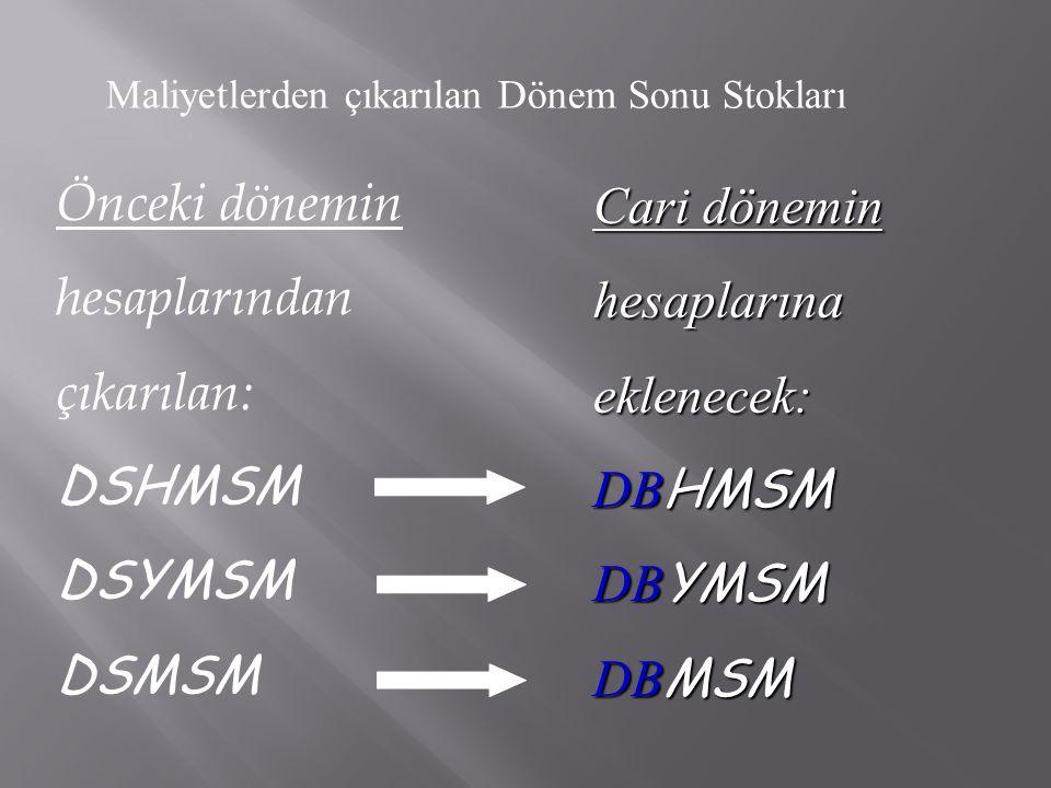 Önceki dönemin hesaplarından çıkarılan: DSHMSM DSYMSM DSMSM