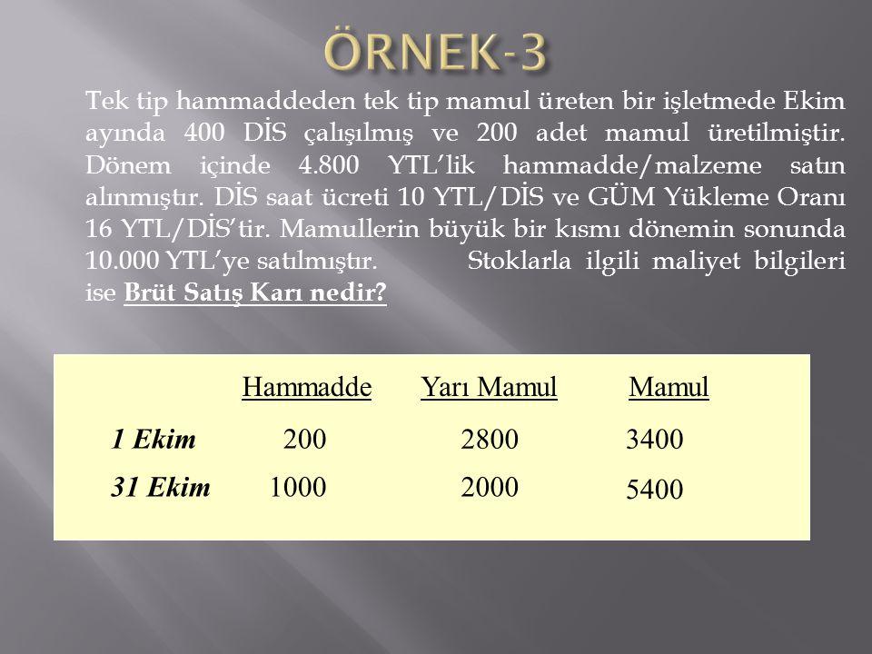 ÖRNEK-3 Hammadde Yarı Mamul Mamul 1 Ekim 200 2800 3400 31 Ekim 1000