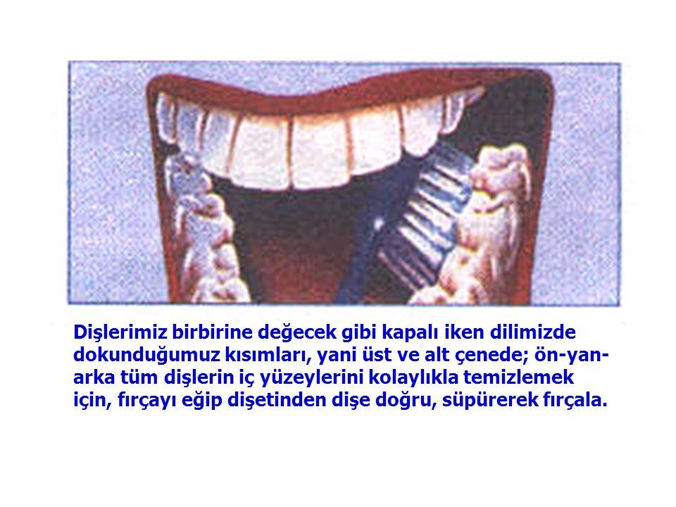 Dişlerimiz birbirine değecek gibi kapalı iken dilimizde dokunduğumuz kısımları, yani üst ve alt çenede; ön-yan-arka tüm dişlerin iç yüzeylerini kolaylıkla temizlemek için, fırçayı eğip dişetinden dişe doğru, süpürerek fırçala.