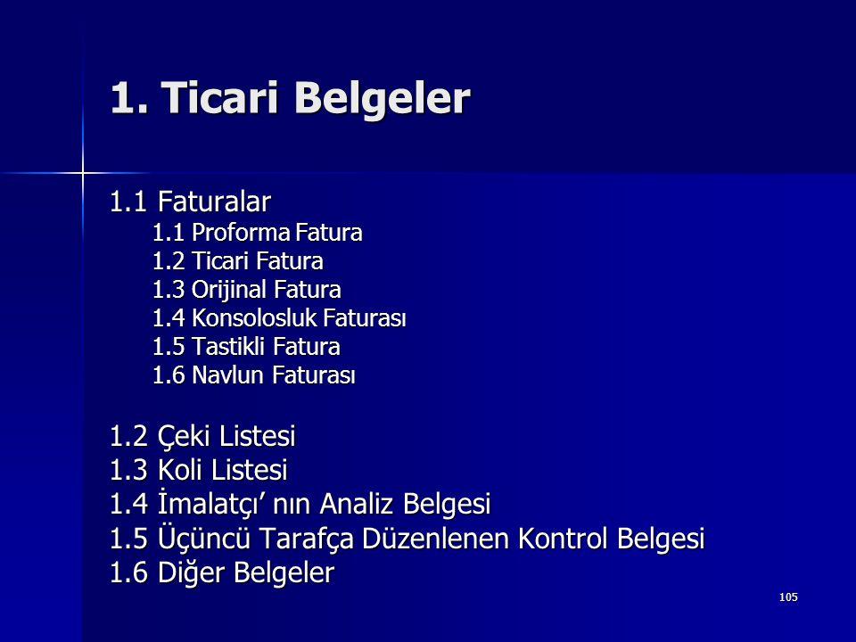 1. Ticari Belgeler 1.1 Faturalar 1.2 Çeki Listesi 1.3 Koli Listesi