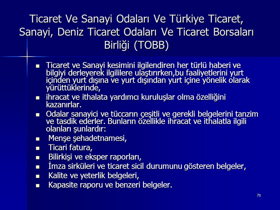 Ticaret Ve Sanayi Odaları Ve Türkiye Ticaret, Sanayi, Deniz Ticaret Odaları Ve Ticaret Borsaları Birliği (TOBB)