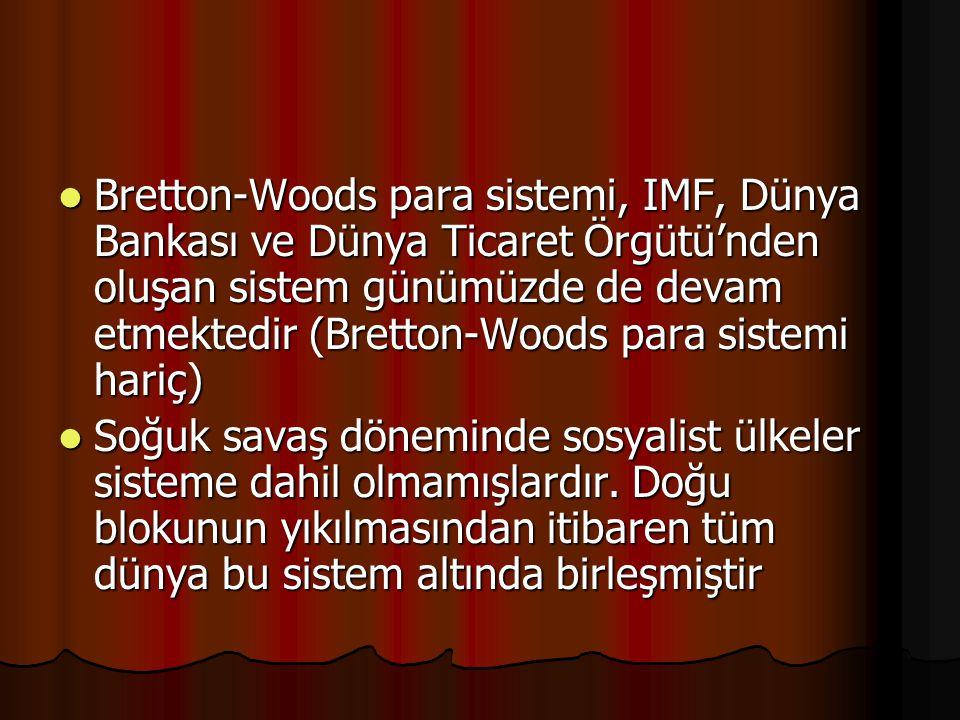 Bretton-Woods para sistemi, IMF, Dünya Bankası ve Dünya Ticaret Örgütü'nden oluşan sistem günümüzde de devam etmektedir (Bretton-Woods para sistemi hariç)