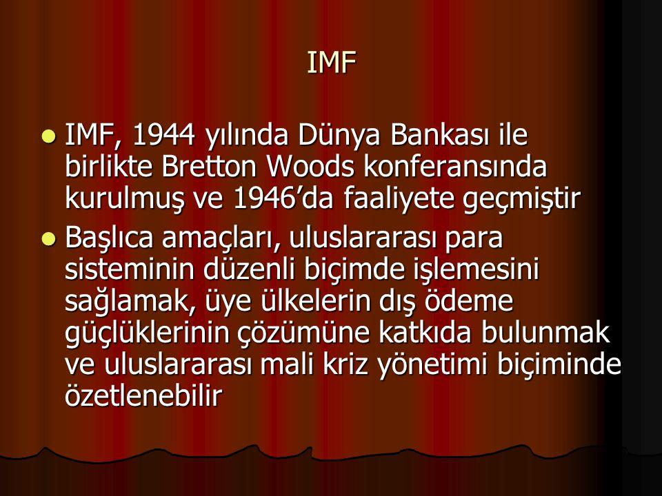 IMF IMF, 1944 yılında Dünya Bankası ile birlikte Bretton Woods konferansında kurulmuş ve 1946'da faaliyete geçmiştir.