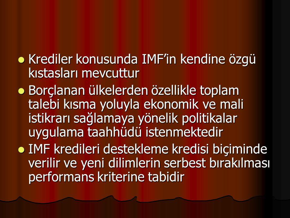 Krediler konusunda IMF'in kendine özgü kıstasları mevcuttur