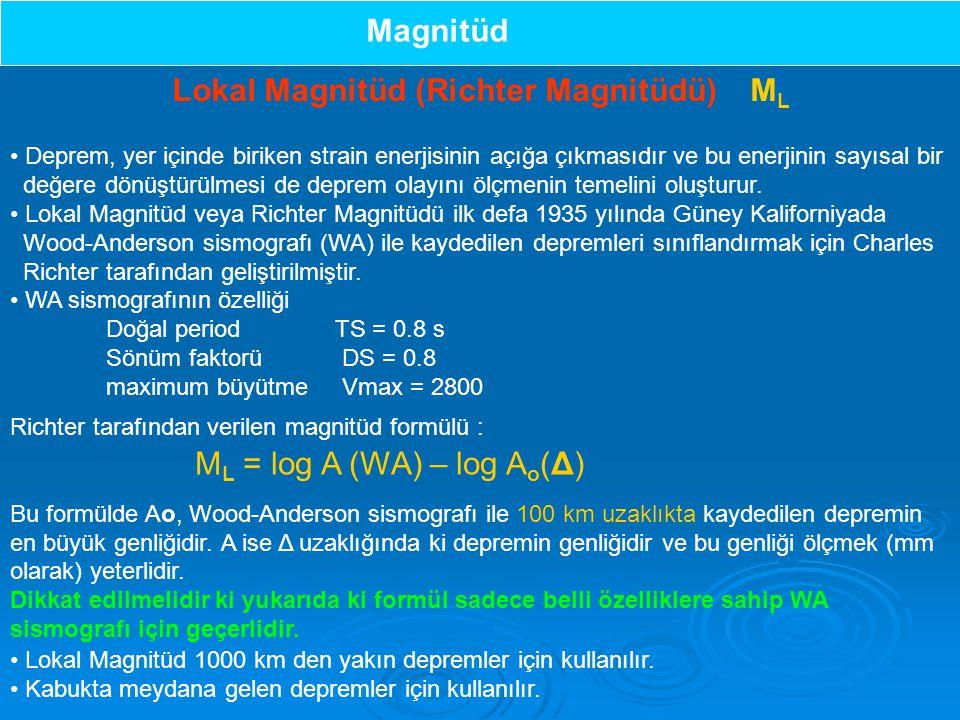 Lokal Magnitüd (Richter Magnitüdü) ML