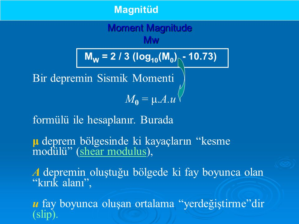 Bir depremin Sismik Momenti M0 = μ.A.u formülü ile hesaplanır. Burada