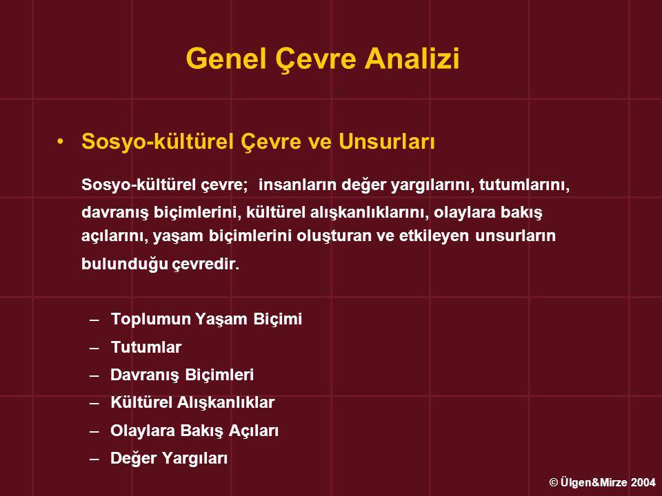 Genel Çevre Analizi Sosyo-kültürel Çevre ve Unsurları.