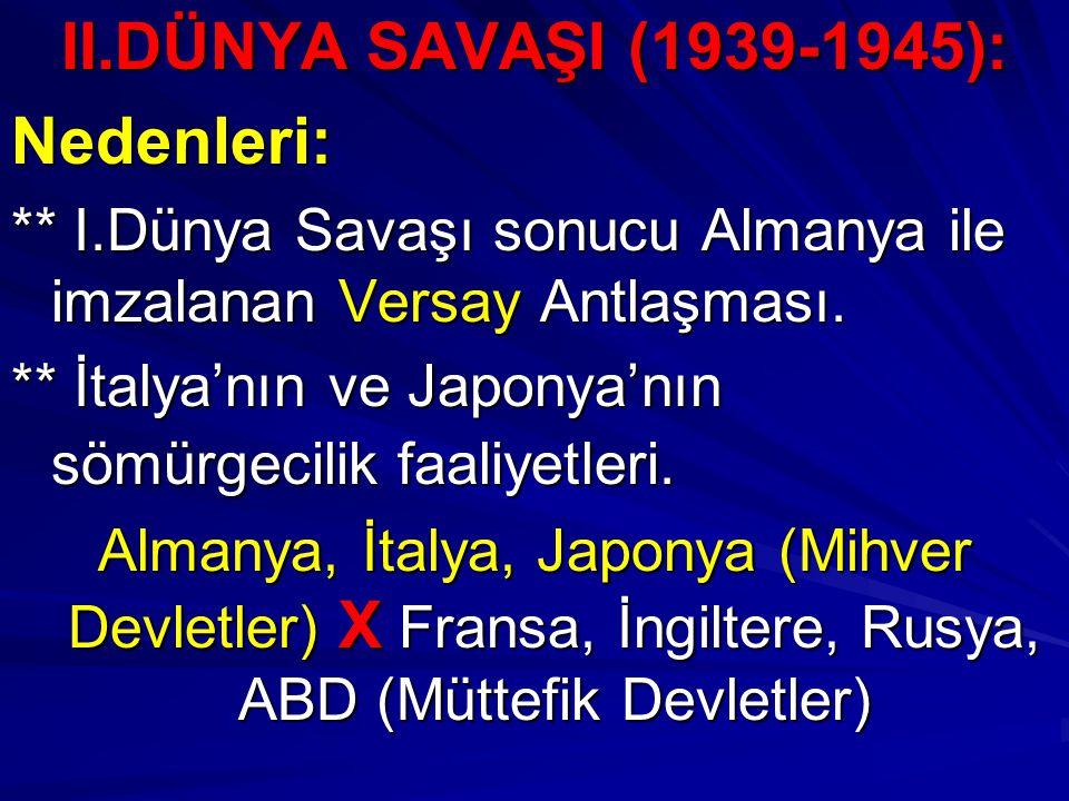 II.DÜNYA SAVAŞI (1939-1945): Nedenleri: