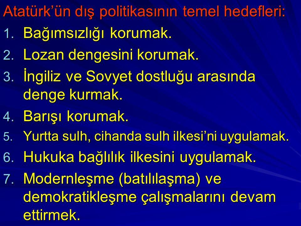 Atatürk'ün dış politikasının temel hedefleri: Bağımsızlığı korumak.