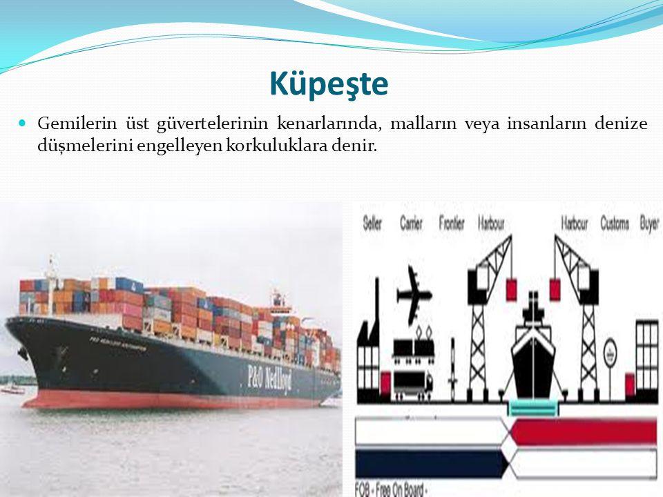 Küpeşte Gemilerin üst güvertelerinin kenarlarında, malların veya insanların denize düşmelerini engelleyen korkuluklara denir.